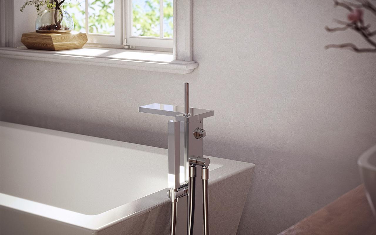 Aquatica modul 190 llave para tina de montaje a piso for Llaves de tina de bano