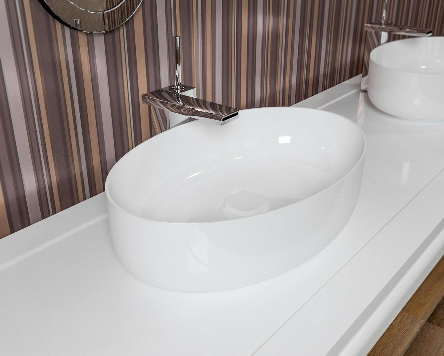 Metamorfosi vasija de ba o de cer mica ovalada en color blanco - Colores de ceramica ...