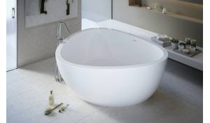Aquatica Trinity™ Bañera de Tres Lados em Branco de EcoMarmor™ Lite